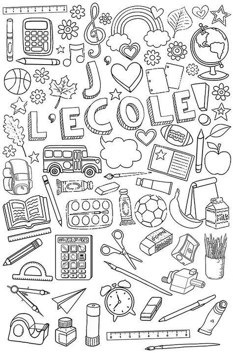 Affaires d'école à colorier