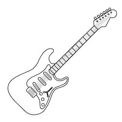 Guitar Coloring Page Good Guitar Coloring Page Guitars And ... | 400x400