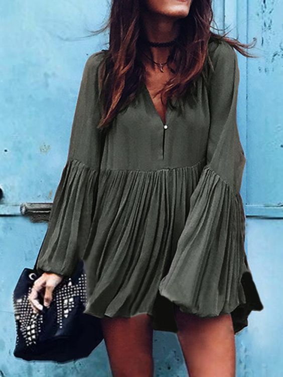 Army Green V Neck Flare Sleeve Ruched Mini Dress:
