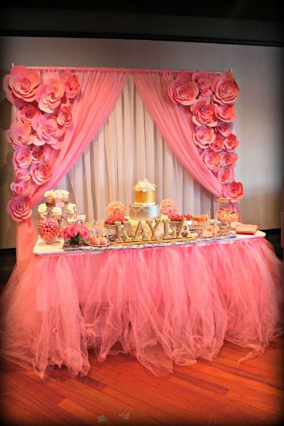 ItS A Girl Pink And Silver Baby Shower Party Ideas Backdrops Party Ideas And Tables