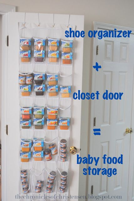 25 ingenious ways to use shoe bags (but not for shoes)! Organize and store baby food.
