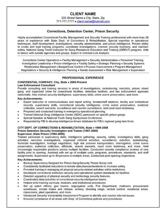 corrections officer resume example resume