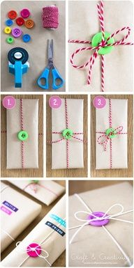 Gift wrapping with buttons - http://craftideas.bitchinrants.com/gift-wrapping-with-buttons/: