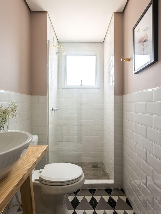 banheiro, preto, branco, cinza, madeira, ladrilho hidráulico, tijolo metrô, rosa: