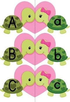 Alphabet Match-Up - Valentine Turtles {FREE} Repinned by SOS Inc. Resources http://pinterest.com/sostherapy.: