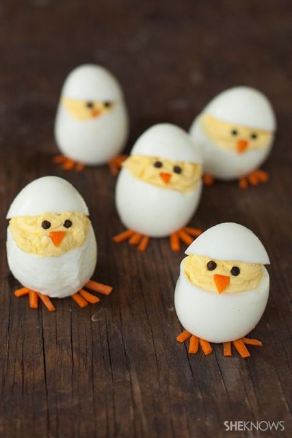 Turn your deviled eggs into hatching chicks - will probably never do this but it's too cute not to pin.: