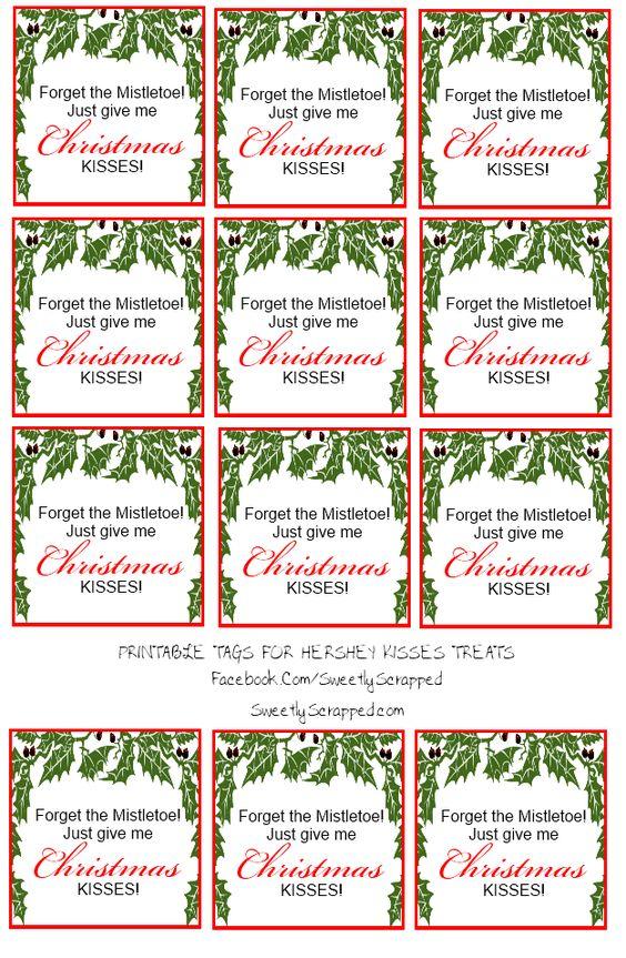 Free Printable Christmas Kisses Tags And Bag Toppers