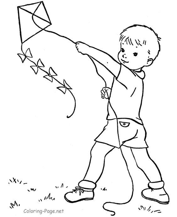little boy flying a kite å ºç pinterest kites coloring