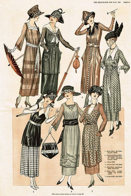 .Fashion page from the Delineator, 1919.: