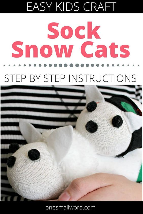 Getting tired of making sock snowman? My kids were. So we made something a little different-cuddly sock snow cats! Click through for step-by-step instructions. via @onesmallword: