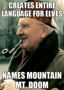 Bilderesultat for tolkien made up languages but named it Mount doom