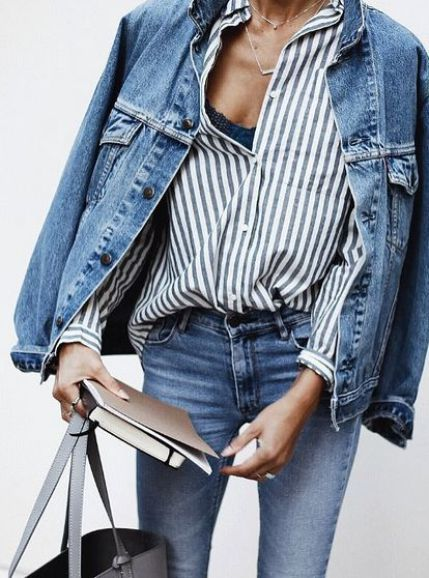 Layer up in double denim. Pair true blue denim with an oversized jean jacket, striped top and neutral leather tote bag for an easy everyday outfit.: