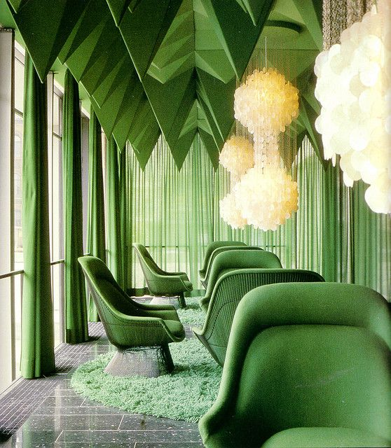 Verner Panton's 1969 interiors for the Spiegel Publishing house in Hamburg is one of his most unique interior works. Panton designed nearly everything inside, color schemes, lamps, textiles, and more.: