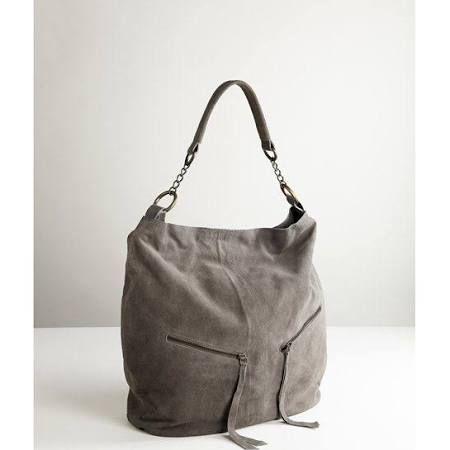 Grey Suede Hobo Bag