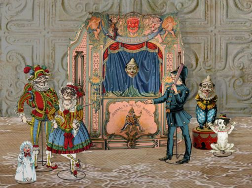 Printable French Paper Theater Antique Printable Punch & Judy Theater Vintage Printable Puppet Theater Digital Collage Instant Download: