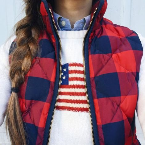 Warm patriotic wear is perfect for a preppy outfit!