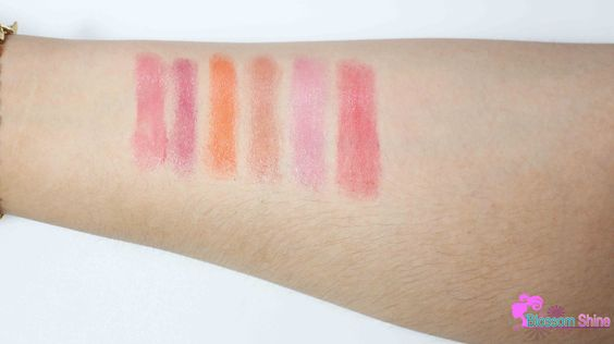 Handswatches of Maybelline Candy Wow Lip Balm, from L - R: Rapsberry, Blackberry, Orange, Cinnamon, Mixed-Berry & Cherry