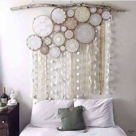 hanging dream catchers over the bed...catching dreams and making sleeping easy! Would love to do this over my daughters cot bed //:
