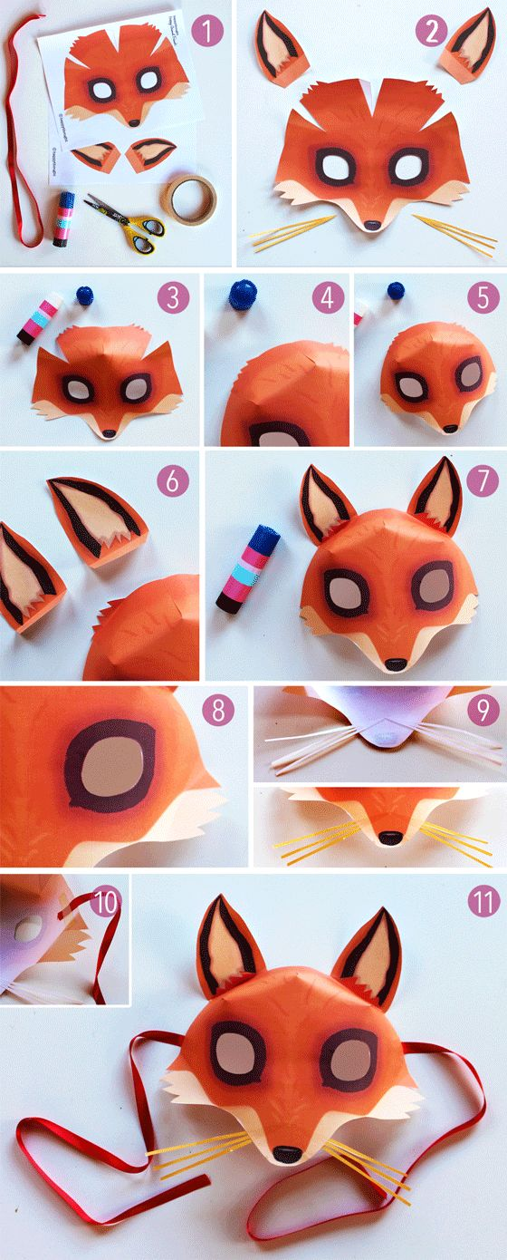 Stepbystep mask making Free fox mask template to