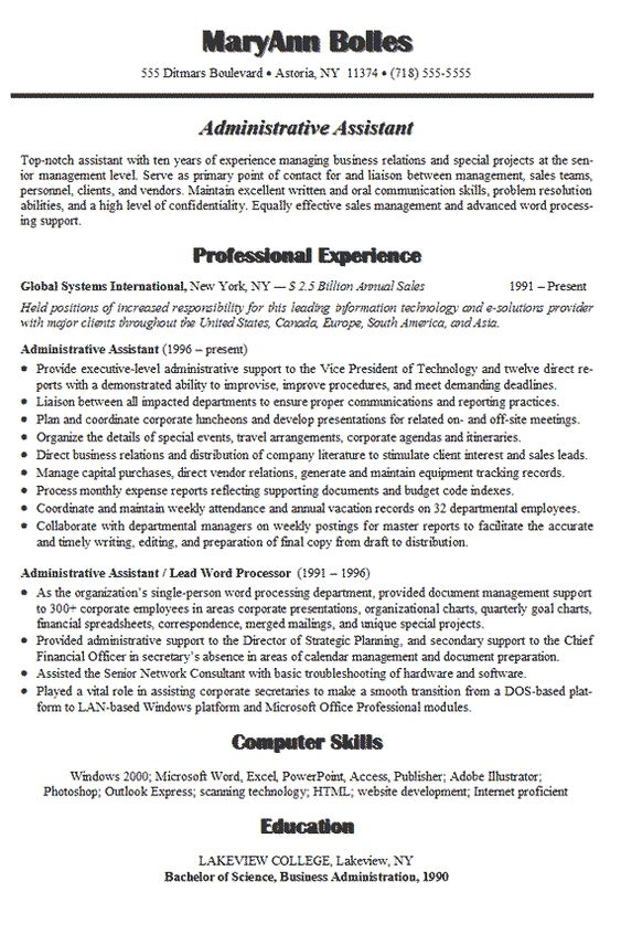 Administrative assistant resume, Resume examples and