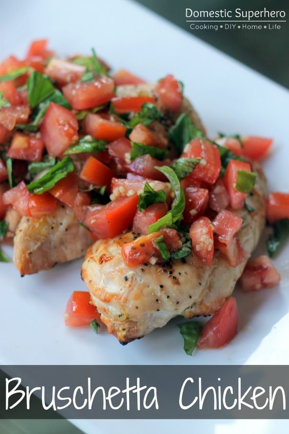 Skinny Bruschetta Grilled Chicken - perfect for using fresh summer basil and tomatoes!: