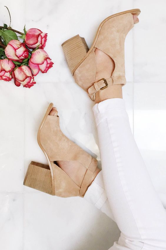 Suede peep toe booties with cool cutouts. So perfect for spring!: