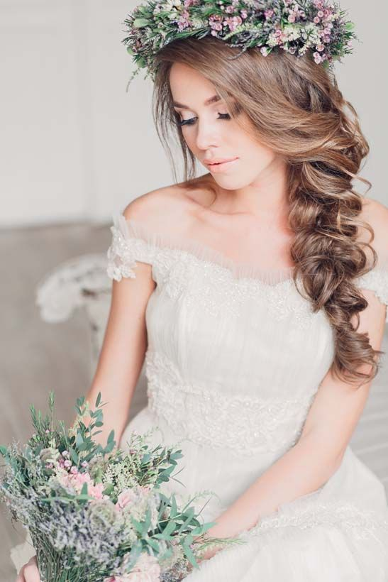 Romantic side braid with flower wedding hair: