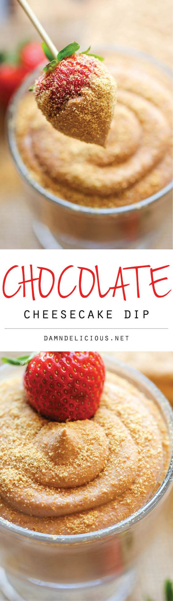 Chocolate Cheesecake Dip Recipe via Damn Delicious