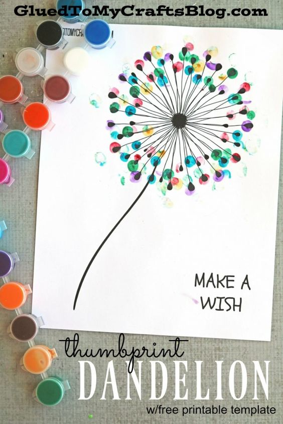 Thumbprint Dandelion - Kid Craft - this idea would be a great gift for a teacher or a DIY project for grandparents!: