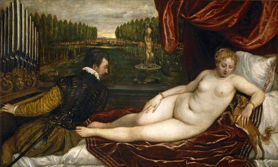 Titian, Tiziano Vecelli, or Tiziano Vecellio (Italian c. 1488/1490–1576) [Venetian School] Venus recreándose en la música (Venus Reveling in Music), 1555. Museo del Prado, Madrid, Spain.: