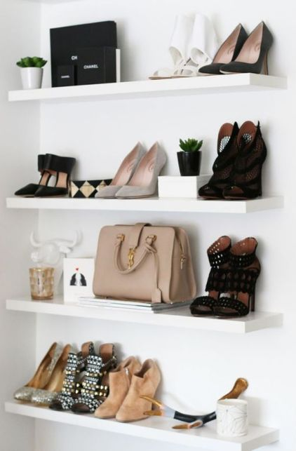 Displaying your shoes and bags is a great way to make your dorm look fancy AF!