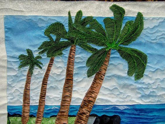 Hawaiian Tropical Beach Art Quilt Landscape Seascape Wall