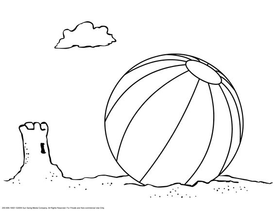 beach ball and sand castle coloring page coloring page kids