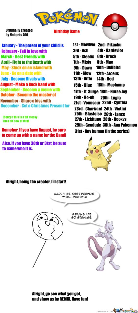 Pokemon birthday, Birthday scenario game and Scenario game