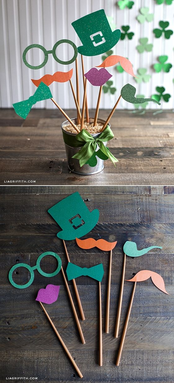 DIY St. Patrick's Day Party Decor and Photo Props via Lia Griffith