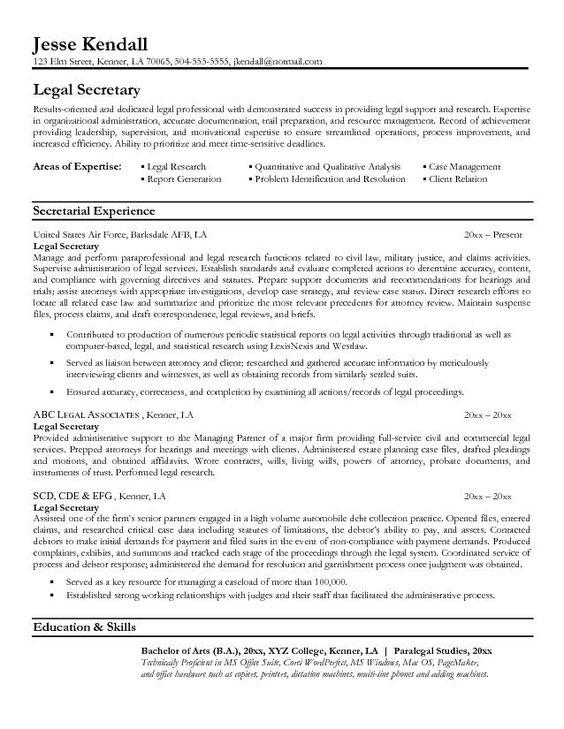 resume sample resume and secretary on pinterest