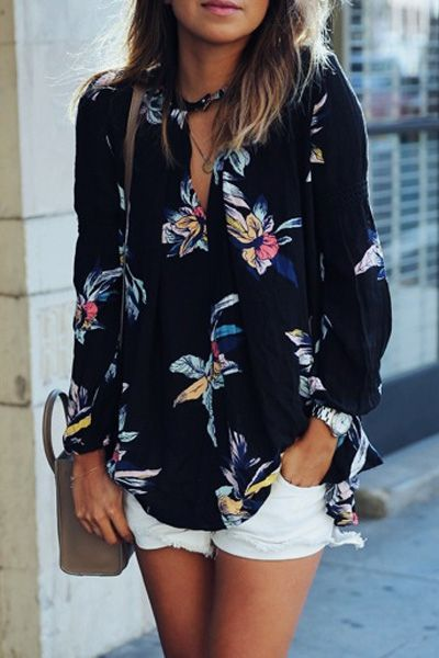 V-Neck Colorful Floral Print Long Sleeve Shirt: