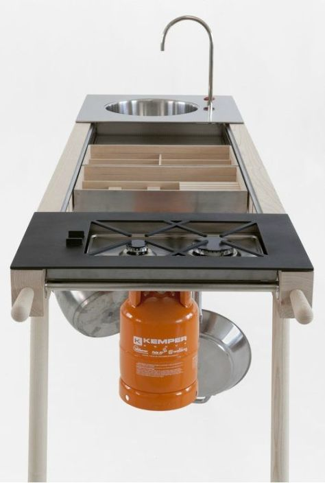 critter mobile kitchen: Initially envisioned to be moved between indoor and outdoor spaces, the system works especially well in the house. And with dimensions 240 cm x 65 cm x h 91 cm – it can fit even in a small studio apartment.: