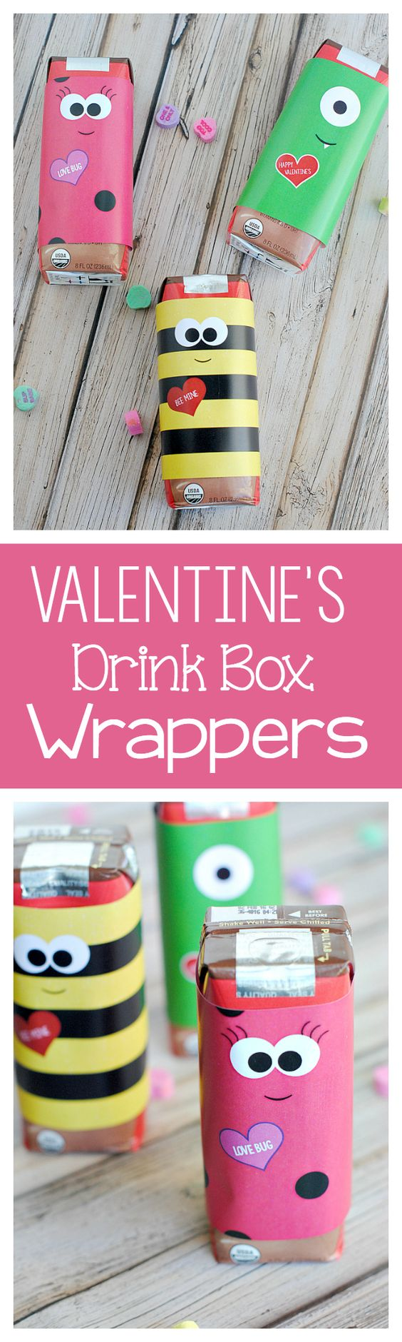 Cute Valentine's Day Party Drink Box Wrappers FREE PRINTABLES via Crazy Little Projects -Perfect for a party! Just print and wrap!
