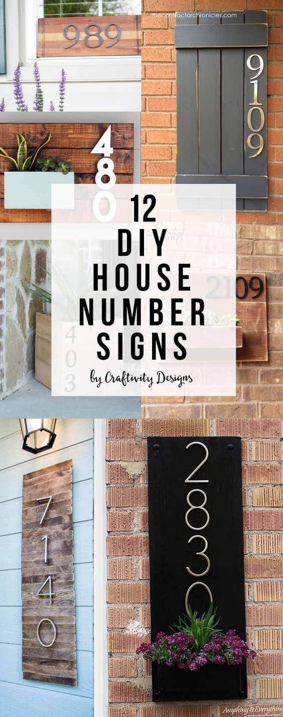 Diy house numbers, House number signs and Address signs on
