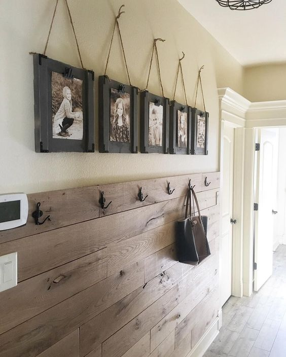 Cute with your kids pictures and I like the wall, it won't scuff like paint. Be cute for your mid room entrance.: