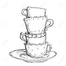 line drawings tea cups and coloring pages on pinterest