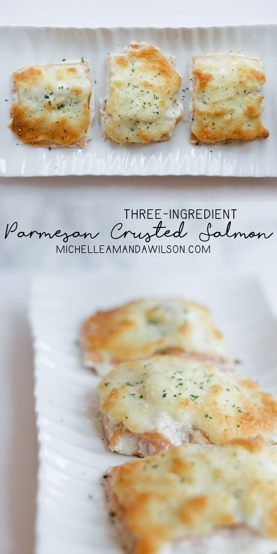 This parmesan crusted salmon recipe takes less than 30 minutes start to finish, has only 3 ingredients, and is a perfect easy weeknight dinner!: