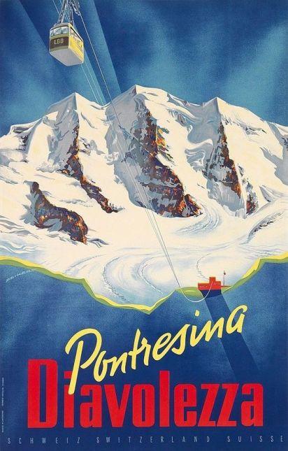 Poster by MARTIN PEIKERT / PONTRESINA - DIAVOLEZZA / 1955: