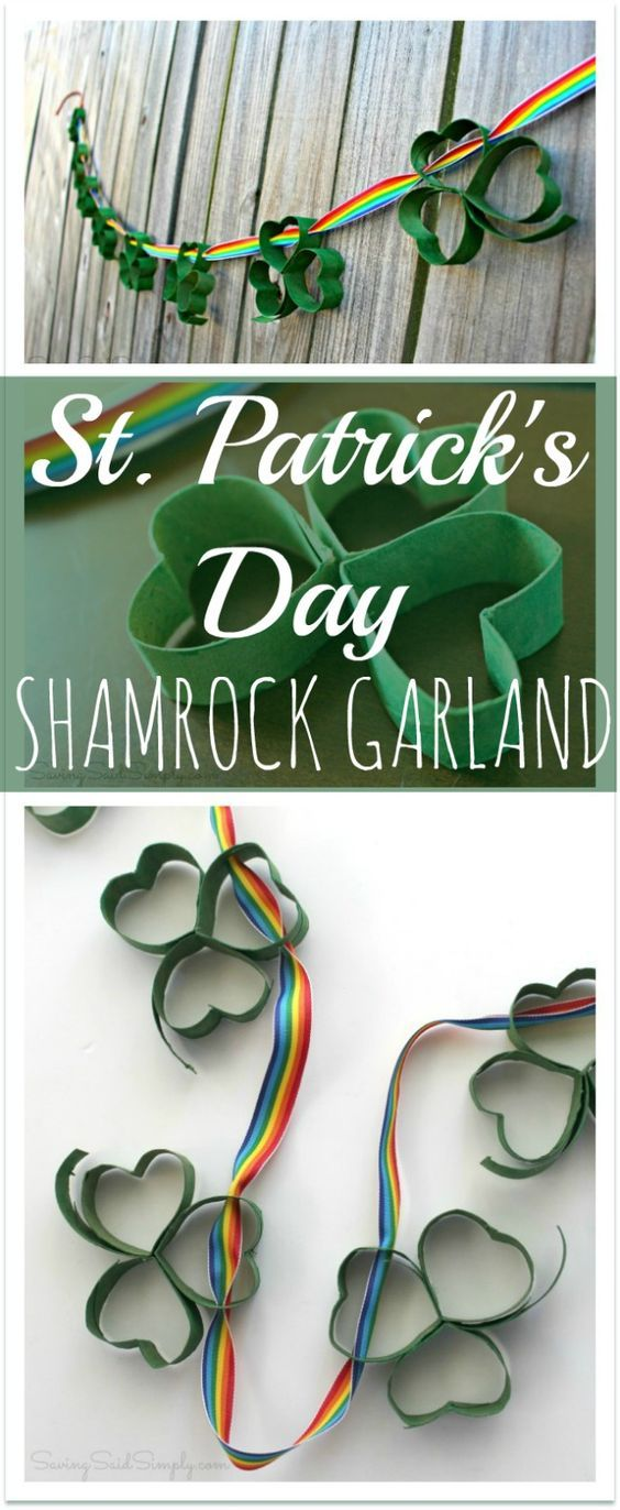 Easy St. Patrick's Day Kids Craft | Shamrock Garland via Raising Whasians - make this easy garland for St. Patrick's Day, made with toilet paper rolls!