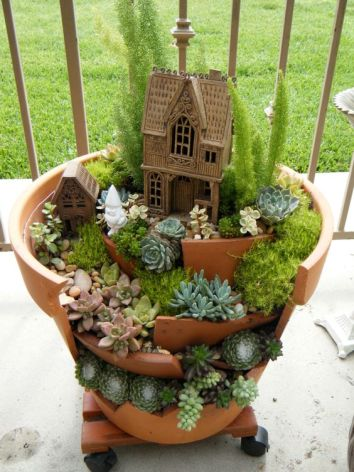 Clay Pots Succulent Garden in Upcycled Clay Pot on Patio