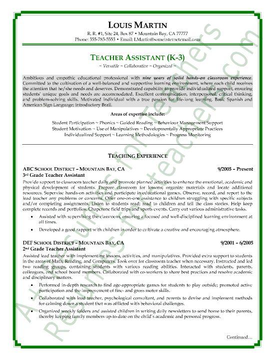 teacher assistant resume and teacher resumes on pinterest
