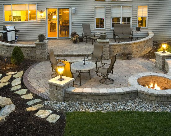 Patio Makeover - Stone Fire Pit Patio for Backyard