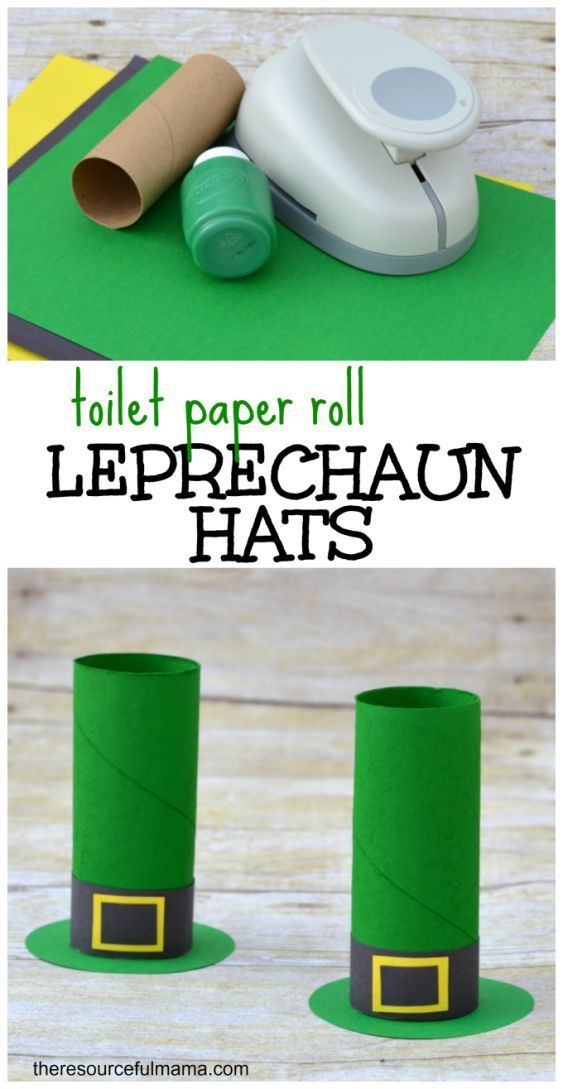 St. Patrick's Day toilet paper roll leprechaun hat craft for kids via The Resourceful Mama