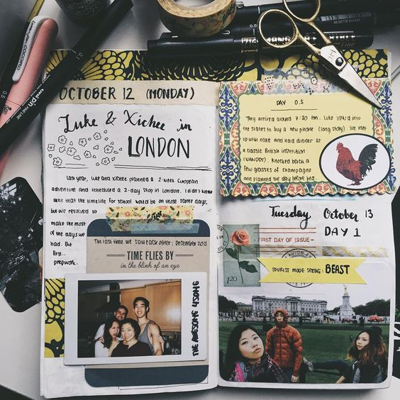 Imported from my personal account--an art journal layout using ephemera and tip ins. Traveler's Notebook Refill 013: